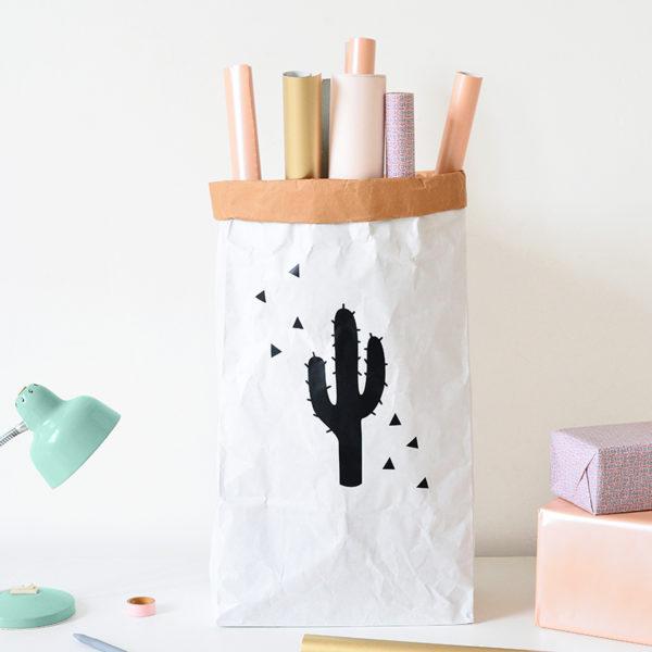 sac en papier de rangement Cactus