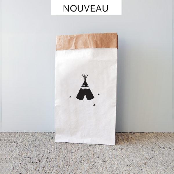 sac en papier rangement tipi